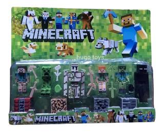 Minecraft Muñecos X 6 +accesorios Total 19 Piezas En Blister