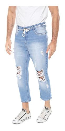 Calça Jeans Hering Slim Cropped Destroyed