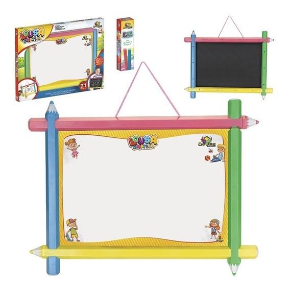 Lousa Criativa Infantil 2em1 Quadro Branco Verde Com Kit