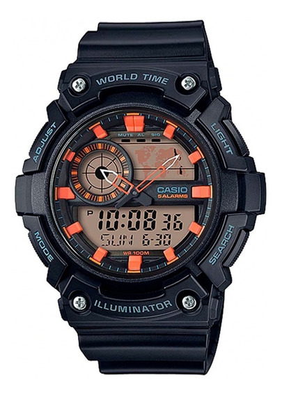 Relógio Casio Standard Preto Aeq-200w-1a2vdf