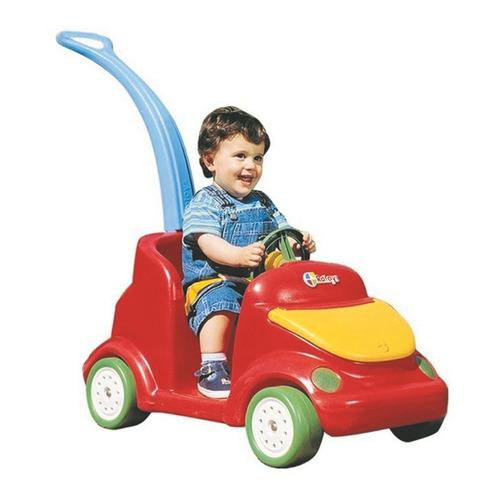 Auto De Paseo Rojo Con Manija Celeste Tapa Amarilla Rotoys