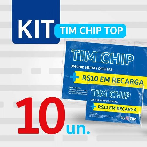 Imagem 1 de 2 de Kit 10 Tim Chip Top (com R$10 Em Recarga)