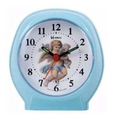 Relogio Despertador Herweg 2640 007 Azul Bebe Anjo