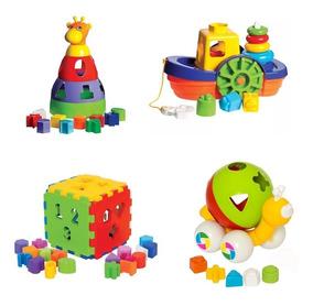Kit 4 Brinquedos Educativos Didático P/ Crianças +1 Ano