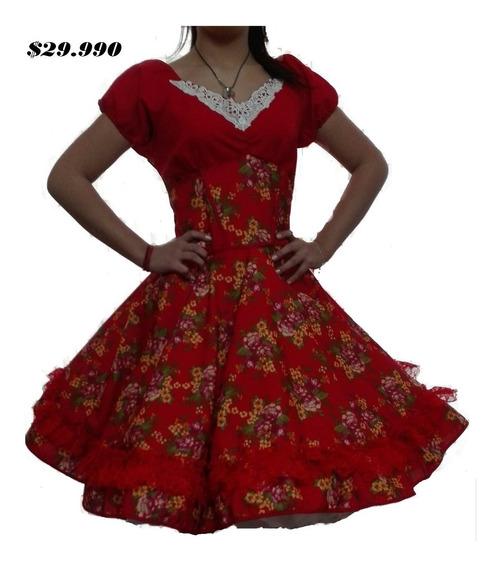 Vestido Huasa China Cueca Rojo Floreado / Falso Competencia
