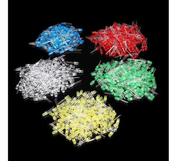 Kit 500 Leds 5mm Difuso 5 Cores 100 Peças De Cada - Carta