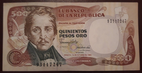 Imagen 1 de 3 de Colombia Billete De 500 Pesos Oro Año 1990