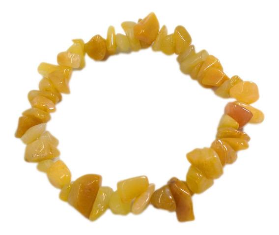 Pulseira De Cascalho Pedra Jaspe Amarela Natural