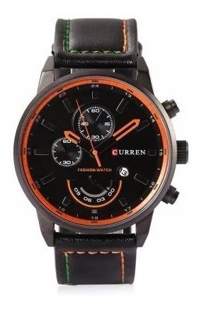 Relógio Masculino Curren 8217 Casual Couro Pu Aço Inoxidável