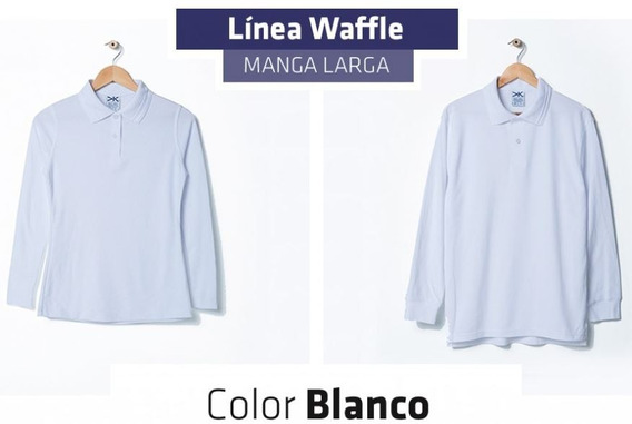 Playera Tipo Polo Waffle Manga Larga Blanco Y Colores