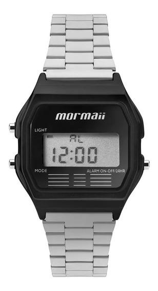 Relógio Mormaii Unissex Vintage Prata Preto - Quadrado