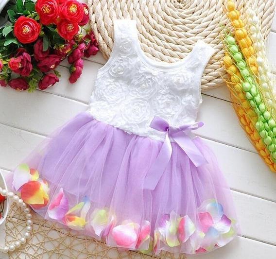 Vestido Tutu Para Niña Con Pétalos