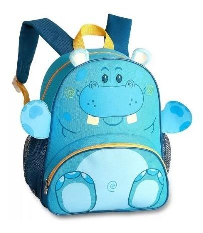 Mochila Escolar Infantil Azul Clio Pets Hipopótamo - 9237