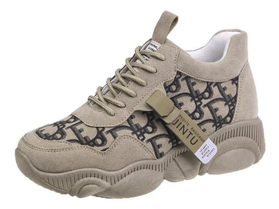 Sepatu Sneakers Deporte Moda Casual Gaya Corea Sol Tebal U