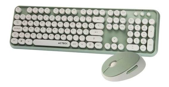 Kit Teclado Y Mouse Inalambrico Vintage T520 Acteck Verde /v