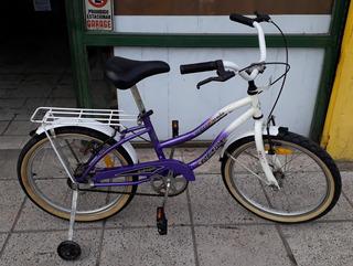 Bicicleta Rodado 20 Niña / Niño Marca Robinson Con Rueditas
