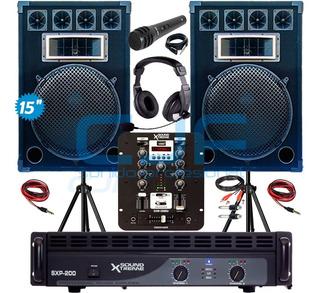 Potencia Soundxtreme 200 +2 Bafles 15 500w+ Consola Usb Cjf