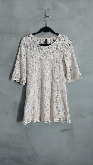 Vestido De Renda Bege H&m