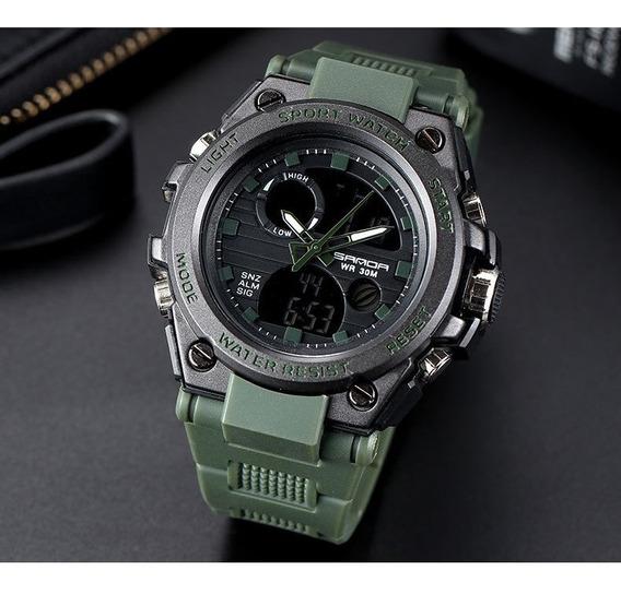 Relógio Militar Esporte Digital Analógico Barato Shock Sanda