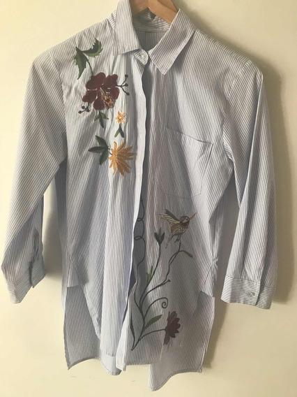 Camisa Rayada Manga 3/4 Con Bordado