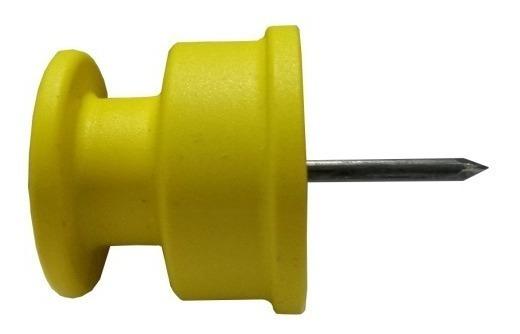 Isolador Cerca Elétrica Roldana 36x36 Amarelo Pct C/100