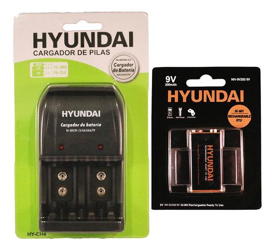 Cargador De Pilas Hy-ch4 + Pila Recargable 9v Hyundai