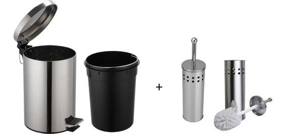 Cesta Lixo Lixeira Banheiro Metal Inox C/ Pedal + Limpador