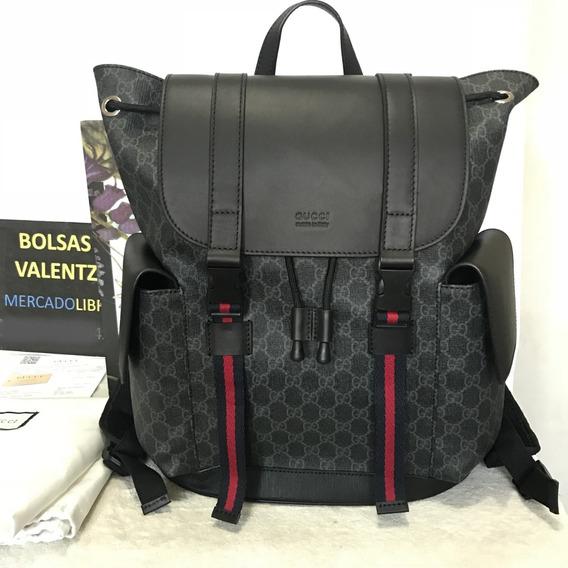 Mochila Gucci Soft Gg Supreme Backpack Azul Y Rojo En Caja