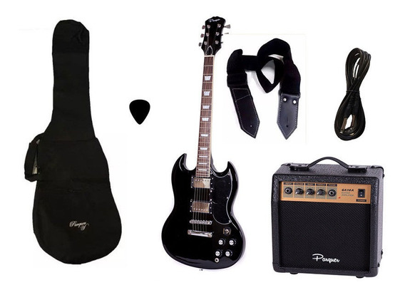 Combo Guitarra Electrica Parquer Sg Negra Amplificador 10w