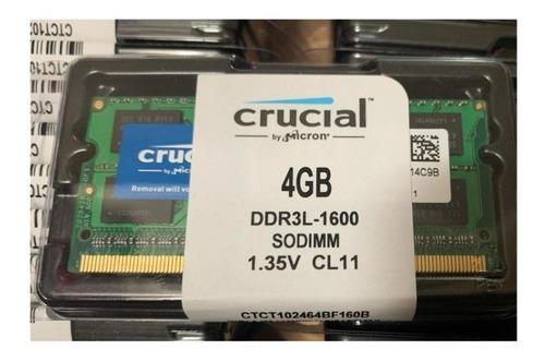 Imagen 1 de 4 de Memoria Ram 4gb Ddr3l - 1600 Sodimm Crucial  Macbook Pro