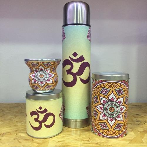 Imagen 1 de 4 de Set Matero Equipo De Ecocuero - Kit De Mate Ohm Mandala