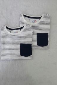 Camiseta Listrada Com Bolso - Infantil