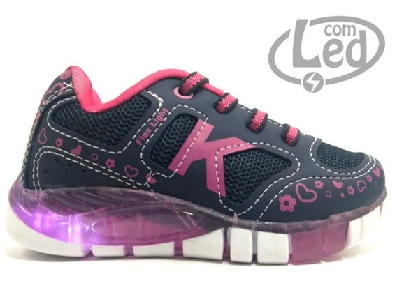 Tênis Feminino Kidy Flex Light 020 1102 Com Led - 22 Ao 27
