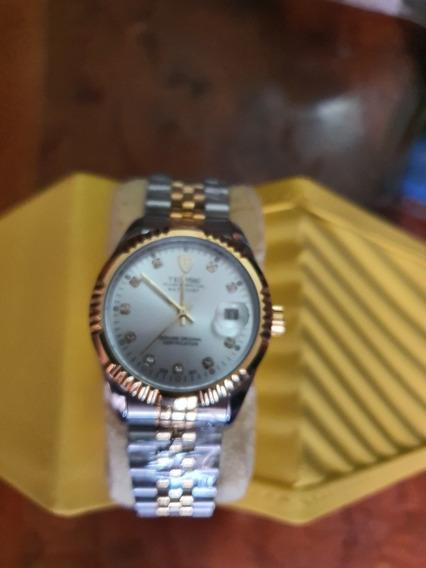 Reloj Nuevo Automatico Oro Acero Tevise Precioso Mod 629