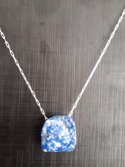 Colar Elo Cartier Prata 925 Pingente De Lápis Lazuli Rajado