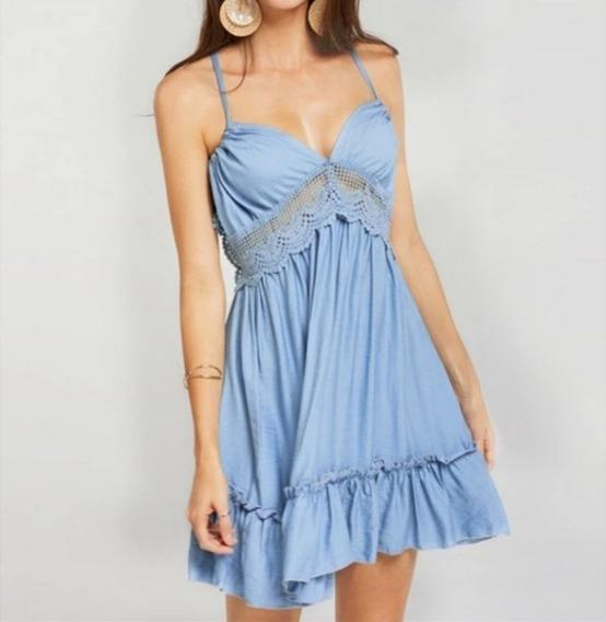 Vestido Boho Azul Com Detalhes De Guippir
