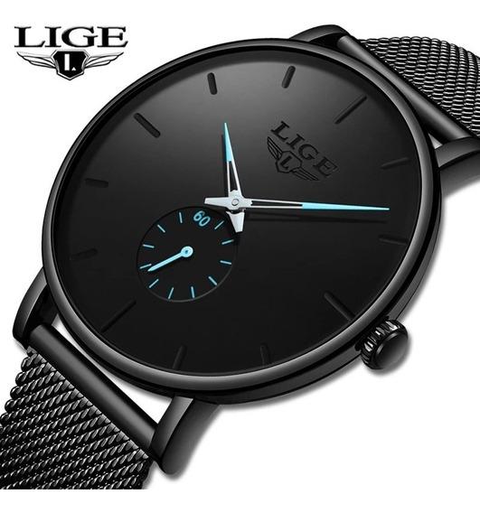 Relógio Unissex Lige 9915 Preto C/ Azul 30 Metros Original
