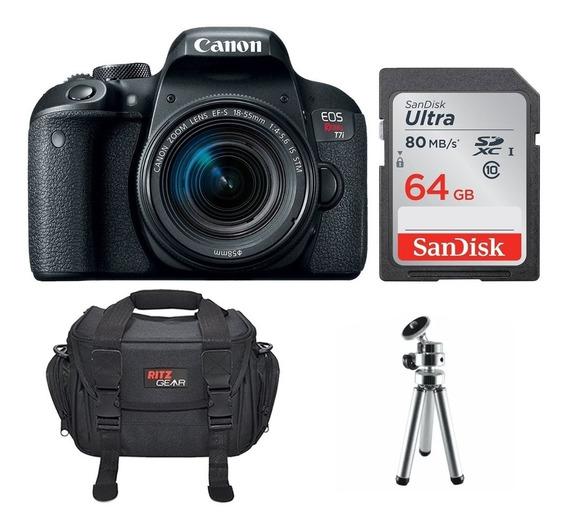 Câmera Canon Eos T7i +lente18-55+bolsa+tripé+64gb C/10 S/jur