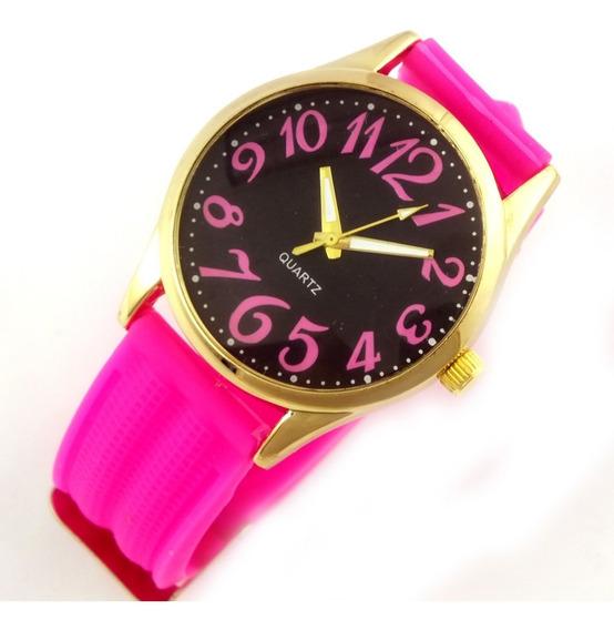Relógio Feminino Quartz Com Pulseira Rosa Borracha B5630