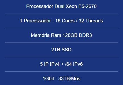 Servidor Dedicado Dual Xeon E5-2670-128gb Ram-2tb Ssd -5 Ip