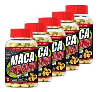 Kit 5x Maca Peruana Pura 180 Comprimidos 1000mg Lauton