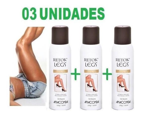Kit 3 Retok Legs Meia Calça Spray Maquiagem Pernas