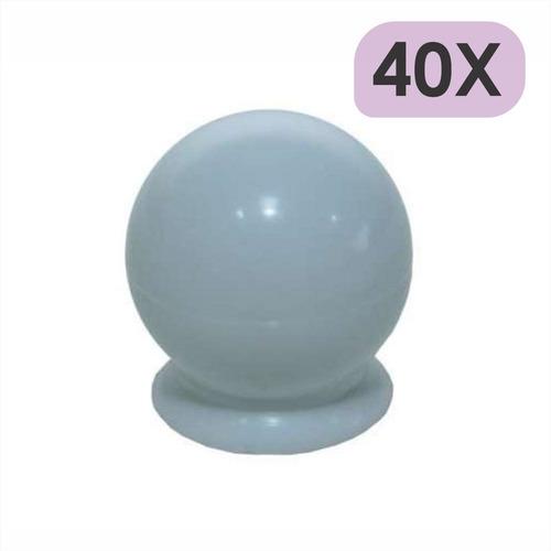 Imagem 1 de 5 de 40 Puxador De Gaveta Porta Armario Bola Branco Com Parafuso