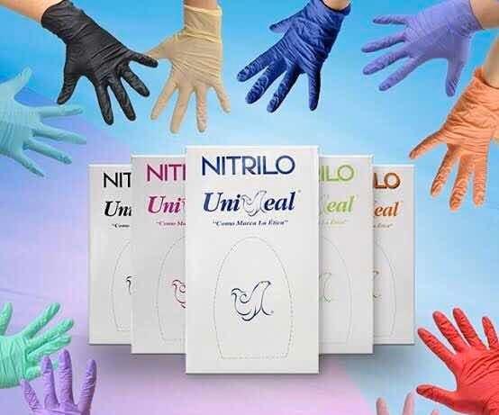 Guantes De Nitrilo Uniseal Colores C/100 Talla Ch