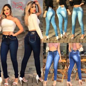 Kit 03 Calça Jeans Feminina Cintura Alta Levanta Bumbum