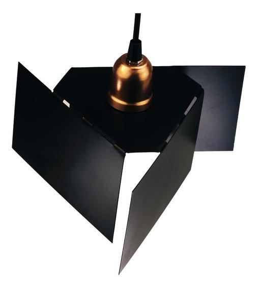 Luminária Lustre Pendente Cobre Industrial Design Geométrico