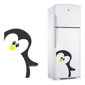 Adesivo Decorativo Para Geladeira Pinguim Acenando Com A Mão