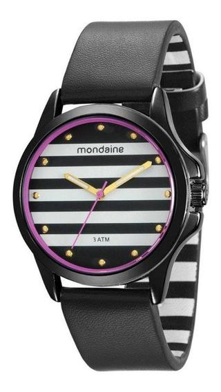 Relógio Feminino Preto Com Pulseira De Couro 76687lpmvph1