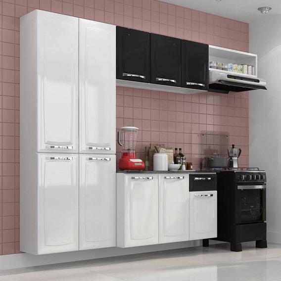 Cozinha Itatiaia Amanda Compacta 4 Pecas Branca E Preta