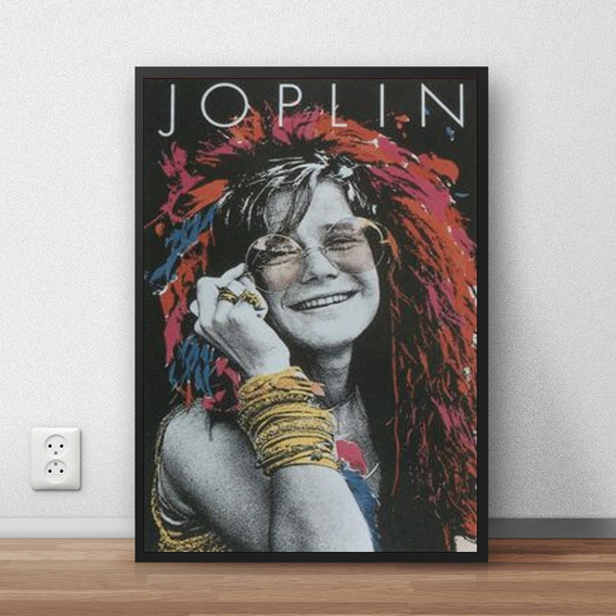 Quadro Decorativo Janis Joplin Com Moldura